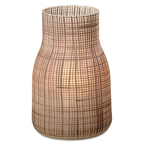 WHW Whole House Worlds Grammercy Frosted Beige Vase, Hand Painted Art Glass, Matte Finish, for Flowers, Candles and LED String Lights, 9 inches ()