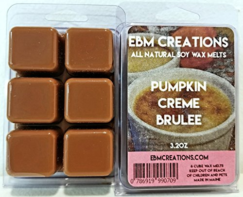 Pumpkin Creme Brulee - Scented All Natural Soy Wax Melts - 6 Cube Clamshell 3.2oz Highly Scented! (Creme Brulee Buy)