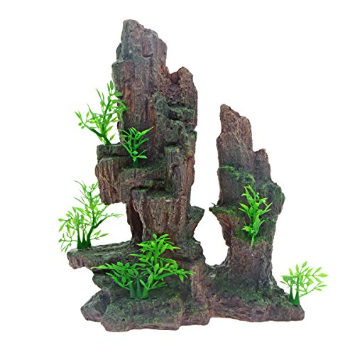 Saim Aquarium Mountain View Stone Ornament Tree Rock Cave Fish Tank Decoration
