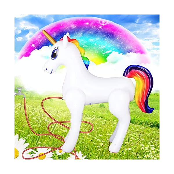 Giant Inflatable Sprinkler Unicorn for Outdoors Yard Lawn for Kids and Adults 6 Ft High 6