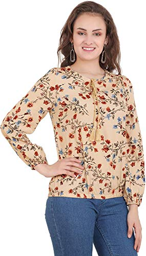 POISON IVY Casual Full Sleeve Floral Print Women's Beige Top