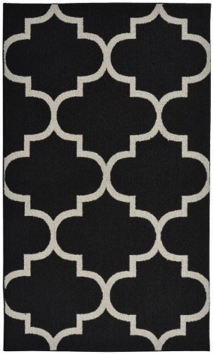 Garland Rug Quatrefoil Area Rug, 5 by 7-Feet, Black/Silver