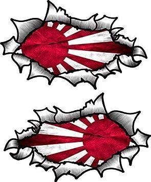 Pequeño Pareja de Oval Efecto Rasgado Abierta Desgarrado Efecto Metal Diseño con Japón Japonés Sol Naciente Vinilo Bandera Casco de Moto Pegatinas 85x50mm Each: Amazon.es: Coche y moto