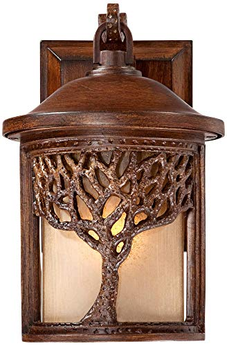 Rustic Outdoor Wall Light Fixture Bronze 9 1/2'' Tree Etched Glass Sconce for Exterior House Deck Patio Porch Lighting - John Timberland by John Timberland (Image #5)