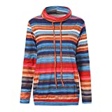Pandaie Womens Tops, Clearance Tops for Women Cowl Neck Striped Long Sleeve Pocket Drawstring Pullover Top Sweatshirt
