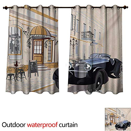 WilliamsDecor Vintage Outdoor Ultraviolet Protective Curtains Hand Drawn Old School Car Parked in Front of a Nostalgic Cafe Retro Illustration W84 x L72(214cm x 183cm)