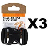 Gear Aid Dual-Adjust Buckle Kit for 1.5-Inch Webbing No-Sew Replacement (3-Pack)