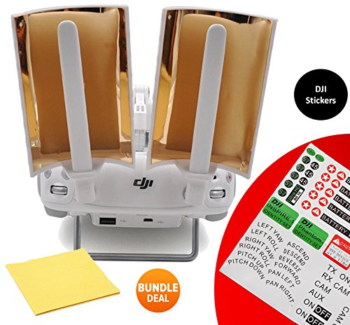 DJI-Booster-Range-Extender-Booster-Copper-Parabolic-Antenna-Signal-Range-Booster-with-BUNDLE-Sticker-Set-and-Cleaning-Cloth-Copper-Windsurfer-for-Phantom-4-3-Pro-Advanced-Standard-Inspire-2pcs