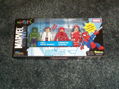 Marvel Universe MiniMates 5 pack box with Hulk, Bruce Baner, Daredevil, Electra plus hidden super hero inside diamond select toys