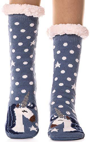 Womens Fuzzy Slipper Socks Warm Thick Heavy Fleece lined Fluffy Christmas Stockings Winter Socks (Unicorn-Blue) (Lined Size Stockings Plus)