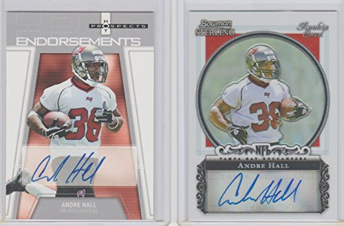 Sterling Card Bowman 2006 Rookie (Andre Hall Rookie Auto Lot (2 Cards) 2006 Bowman Sterling Refractor /199 & Fleer Hot Prospects Bucs USF Bulls)