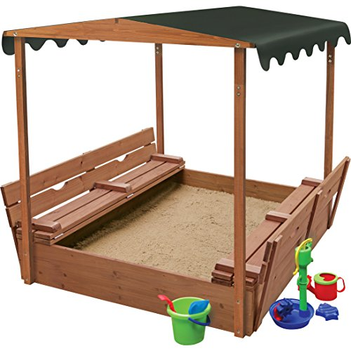 Deluxe Covered Convertible Cedar 4' Rectangular Sandbox with Two Bench Seats, Sandbox With Bench