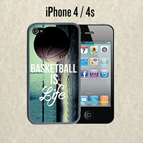 iPhone Case Basketball Baller Life Quote for iPhone 4 / 4s Rubber Black (Ships from CA) With Free .33 mm Premium Tempered Glass Screen Protector (Case Quotes Iphone Basketball 4s)