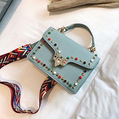 CJshop Remaches, bolsas pequeñas, hembra 2018 nuevo estilo de la versión coreana, plaza pequeña bolsa, bolso, bolso de hombro, banda ancha Satchel Bag, bolso,gules Blue