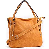 WISHESGEM Women Handbags PU Leather Tote Shoulder Bags Satchel Zipper Cross Body Bags Wheat