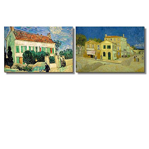 Famous Oil Painting Reproduction Replica Set of 2 White House at Night the Yellow House by Van Gogh ped x 2 Panels