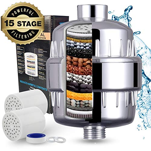 (High Output 15-Stage Shower Filter - Replacement Shower Head Filter - Reduce Dry it Chy Skin, Dandruff, Eczema, and Significantly Improve Skin, Hair And Nail Condition - ABS Plastic )