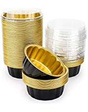 Disposable Baking Ramekins with Lids, Beasea 8 oz 50 Pack 4 Inch Black Gold Aluminum Foil Cups Disposable Creme Brulee Muffin Cupcake Baking Cup Mini Pudding Cups for Party Wedding Birthday