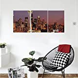 Liguo88 Custom canvas Apartment Decor Collection Skyscraper with Mount Rainier Glowing at Sunset Nightlife Urban Panorama Picture Bedroom Living Room Wall Hanging Dark Plum Golden