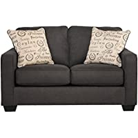 Alenya Collection 1660135 61 Loveseat with Fabric Upholstery Piped Stitching Tapered Block Feet and Casual Style in Charcoal