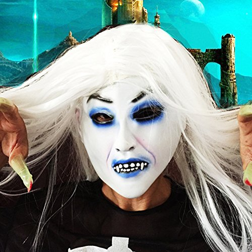 Halloween Horror Grimace Ghost Mask Scary Zombie Emulsion Skin with Hair (white (Gruesome Zombie Costumes)