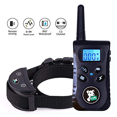 Fiddy Dog Training Shock Collar,Waterproof Bark Collar with remote control and 550 Yard Remote for Small Medium Large Dogs,Beep Vibration and Shock 3 Training Modes(Black) -