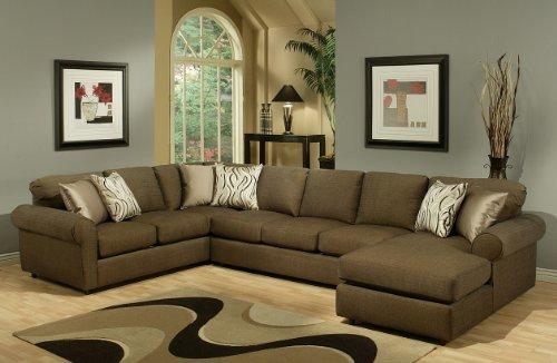 Furniture of America Alexa Chenille Upholstery Sectional, Quartz
