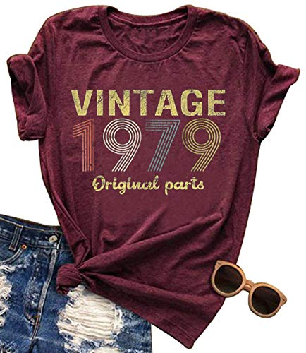 Vintage 1979 Rock Music T Shirt Tops for Women 40 Birthday Gift Short Sleeve Casual Tees Cute Letter Graphic T-Shirt (Medium, - Shirt Rock Tee