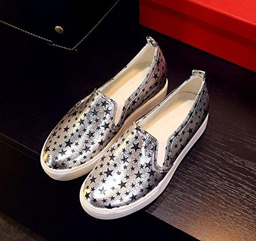 CHFSO Womens Casual Soft Elastic Star Print Fashion Sneakers Shoes Gray KvDWfoHjfo