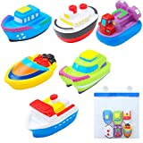 Floating Bath Squirt Toys Rubber Floating Boats Kids Bath Squirt Toys with Bathroom Sucker Mesh Storage Bag for Baby or Kids (6 Boats)