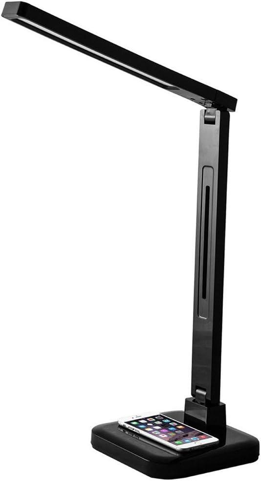 PureOptics LED Qi Wireless Charging LED Desk Lamp, Dimmable, Black VLED1700
