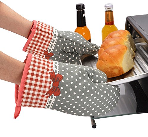 MiCoolker(TM) 1 Pair Cute Bow Bowknot Polka Dot Grid Oven Mitt Cooking Mitts Pot Holder Potholder Heat Resistant Mitt Insulated ()