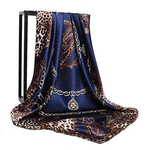 - YJBQDDDY Square Scarves Women Chain Print Sunscreen Silk Scarf Female Silk Satin Long Scarf Dual-Use Shawl Beach Towel Shawl 9090 42