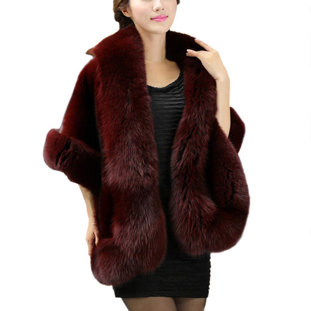 Womens Faux Fur Coat Jacket Wedding Cloak Cape Shawl Overcoat Outerwear