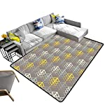 alsohome Modern Abstract Area Rug ethni Boho Print Cloth Design Wallpaper Durable and Resistant to Soiling 6' X 9'