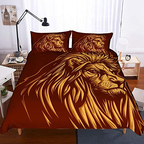 REALIN African Lion Bedding Wild Animal Ferocious Lion Duvet Cover Set for Children and Adult,2/3/4PCS Microfiber Quilt Cover/Sheet/Pillow Shams,Twin/Full/Queen/King Size
