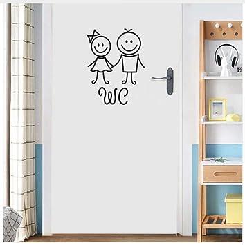 Amazon.com: Ayzr Cartoon Men and Women Wc Wall Sticker for ...