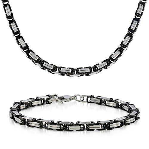 Men's Italian-style Small Square Byzantine Link Necklace & Bracelet - Assorted Finishes (Black) (Yellow Gold Chain Link Assorted)