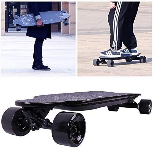 COLORWAY Electrique Skateboard, Longboard à 4 Roues,Planche à Roulette Moteur 400W avec télécommande, Motif léopard Noir
