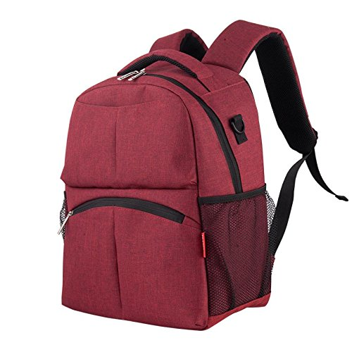 Fashion Maternity Nappy Bag Oxford Large Capacity Baby Bag Travel Backpack Designer Nursing Bag Baby Care Red ()