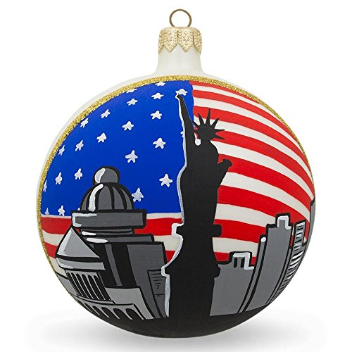BestPysanky Statue of Liberty, New York City USA Flag Glass Ball Christmas Ornament 4 Inches ()