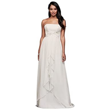 dc2e08ce Pleated Chiffon Sheath Wedding Dress with Beading Style WG3871, Soft White,  6