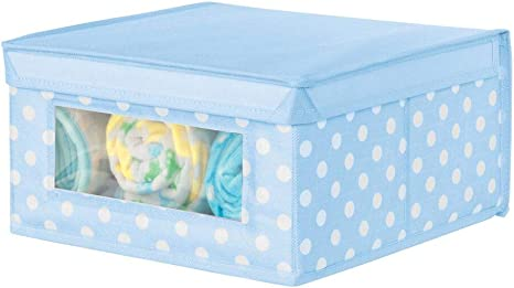 Light Blue with White Dots Nursery Clear Window and Lid Polka Dot Pattern for Child//Kids Room Playroom mDesign Soft Stackable Fabric Closet Storage Organizer Holder Box