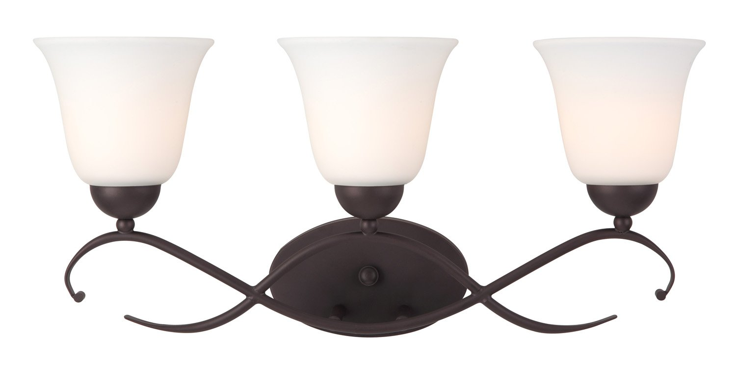Canarm IVL424A03ORB Lily 3-Light Bath Vanity, Oil Rubbed Bronze