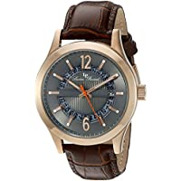 Lucien Piccard Men's 'Oxford' Quartz Stainless Steel and Brown Leather Casual Watch (Model: LP-40020-RG-014-BRW)