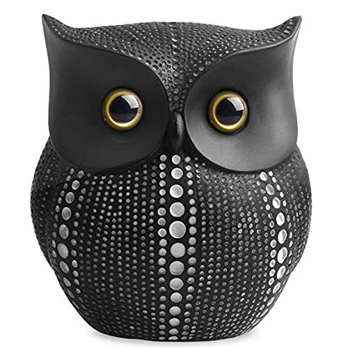 TIPPOMG Owl Statue (Black) Small Animal Figurines for Home Decor,Bird Statue,Animal Statue ,Living Room Bedroom Office Decoration - Western Dots Collection (Black)