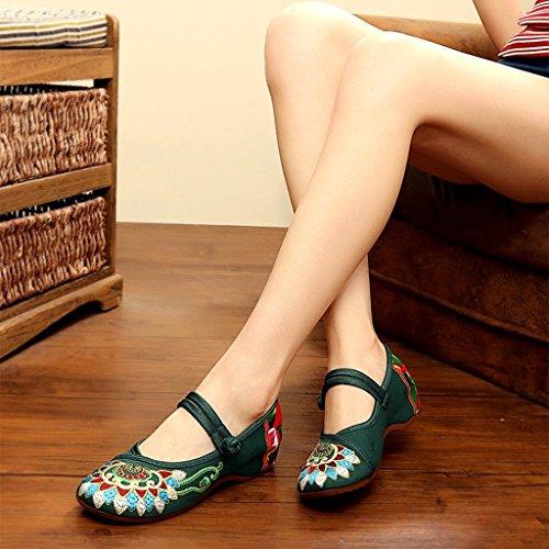 39 bajo de Zapatos vendimia Verde ocasionales Zapatos transpirables Color Zapatos la cómodos Étnico Verde de Tamaño tacón bordados de tela de Estilo ballet Cwv7C1q