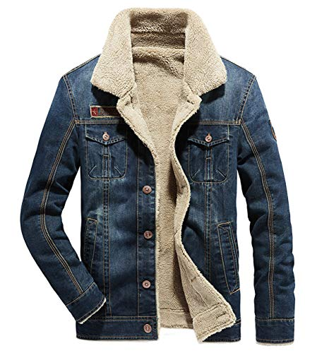 (Fuwenni Men's Sherpa Fleece Lined Denim Trucker Jacket Winter Jean Jacket Cowboy Coat Dark Blue XL)