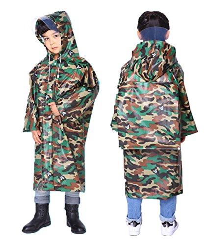 (Children Raincoat,Rainwear with School Bag Cover,Ages 4-14,Lightweight Rain Ponchos to Toddler, Boys,Girls (Camouflage XL) Army Green)