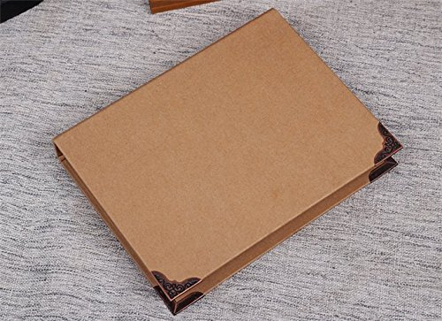 Chris-Wang 1Pc Recycled Chipboard Kraft Paper 6 Round Rings Binder Cover File Folder DIY Album with Metal Corner Guard, 175x235mm(A5 Size) - Recycled Chipboard Cover